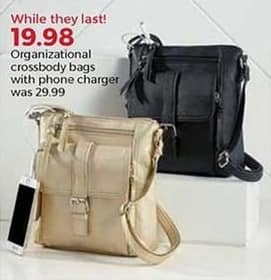 Stein Mart Black Friday: Organizational Crossbody Bags w/ Phone Charger for $19.98