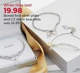 Stein Mart Black Friday: Boxed Fine Silver Plate and CZ Slider Bracelets for $19.98