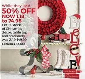 Stein Mart Black Friday: Entire Stock Christmas Decor, Table Top and Stationery - 50% Off