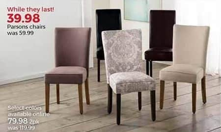Stein Mart Black Friday: Parsons Chairs 2-Pack, Select Colors for $79.98