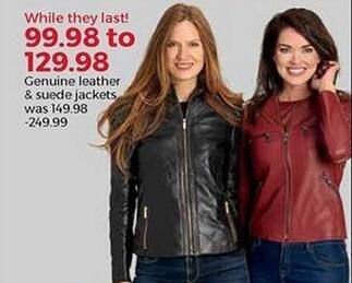 Stein Mart Black Friday: Women's Genuine Leather and Suede Jackets for $99.98 - $129.98