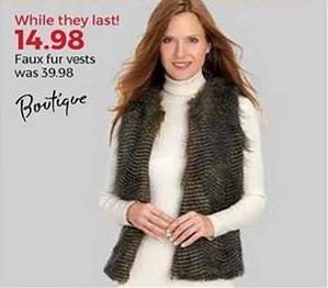 Stein Mart Black Friday: Boutique Women's Faux Fur Vests for $14.98