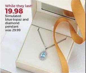 Stein Mart Black Friday: Simulated Blue Topaz and Diamond Pendant for $19.98