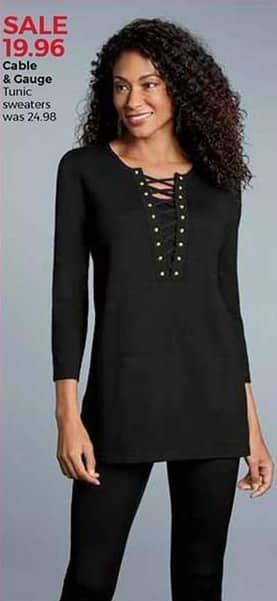 Stein Mart Black Friday: Cable & Gauge Women's Tunic Sweaters for $19.96