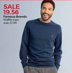Stein Mart Black Friday: Famous Brands Men's Waffle Tops for $19.56