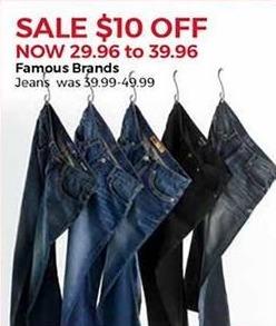 Stein Mart Black Friday: Famous Brands Men's Jeans for $29.96 - $39.96