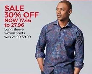 Stein Mart Black Friday: Men's Long Sleeve Woven Shirts for $17.46 - $27.96