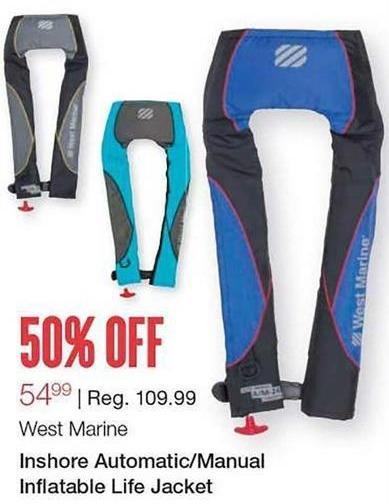 West Marine Black Friday: West Marine Inshore Automatic/Manual Inflatable Life Jacket for $54.99
