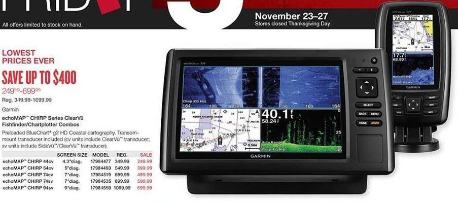 West Marine Black Friday: Garmin echoMAP CHIRP 74cv ClearVu Fishfinder/Chartplotter Combo for $499.99
