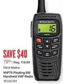 West Marine Black Friday: West Marine VHF75 Floating 6W Handheld VHF