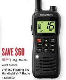 West Marine Black Friday: West Marine VHF160 Floating 6W Handheld VHF Radio for $99.99