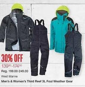 West Marine Black Friday: West Marine Men's and Women's Third Reef 3L Foul Weather Gear - 30% Off
