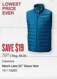 West Marine Black Friday: Columbia Men's Lake 22 Down Vest for $79.99