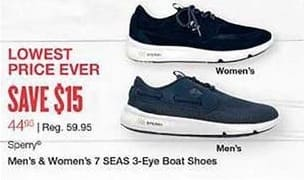 West Marine Black Friday: Sperry Men's and Women's 7 SEAS 3-Eye Boat Shoes for $44.99