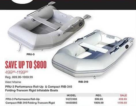 West Marine Black Friday: West Marine Pru-3 Performance Roll-Up Inflatable Boats for $499.99