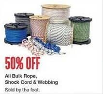 West Marine Black Friday: All Bulk Rope, Shock Cord and Webbing - 50% Off