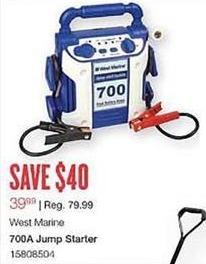 West Marine Black Friday: West Marine 700A Jump Starter for $39.99