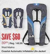 West Marine Black Friday: West Marine Coastal Automatic Inflatable Life Jacket for $89.99