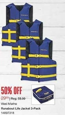 West Marine Black Friday: West Marine Runabout Life Jacket 3-Pack for $29.99