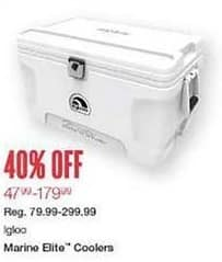 West Marine Black Friday: Igloo Marine Elite Coolers - 40% Off