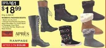 Dunhams Sports Black Friday: Select Women's Fashion Boots: Rampage, Apres & More for $18.99