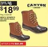Dunhams Sports Black Friday: Canyon Creek Men's, Women's or Youth Duck Boots for $18.99