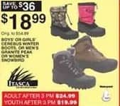 Dunhams Sports Black Friday: Itasca Boys' or Girls' Cerebus Winter Boots for $18.99