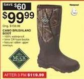 Dunhams Sports Black Friday: Muck Camo Brushland Boots for $99.99