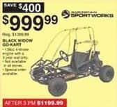 Dunhams Sports Black Friday: American Sportworks Black Widow Go-Kart for $999.99