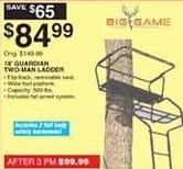 Dunhams Sports Black Friday: Big Game 18' Guardian XL Two-Man Ladder for $84.99
