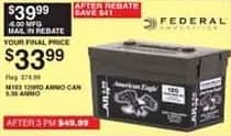 Dunhams Sports Black Friday: Federal American Eagle M193 120 Round Ammo Can for $33.99 after $6.00 rebate