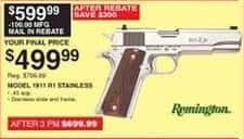 Dunhams Sports Black Friday: Remington 1911 R1 Stainless Semi-Automatic Pistol for $499.99 after $100.00 rebate