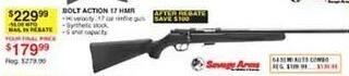 Dunhams Sports Black Friday: Savage Arms Bolt Action 17 HMR Rifle for $179.99 after $50.00 rebate