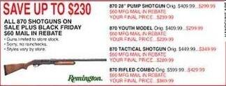 Dunhams Sports Black Friday: Remington 870 Youth Model Shotgun for $239.99 after $60.00 rebate