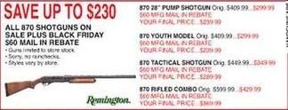Dunhams Sports Black Friday: Remington 870 Rifled Combo Shotgun for $369.99 after $60.00 rebate