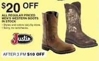Dunhams Sports Black Friday: All Regular Priced In Stock Justin Men's Western Boots - $20 Off