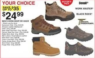 Dunhams Sports Black Friday: Denali, Work Master, Black Rock, Falcon Mountain Men's Work Boots or Hikers, Select Styles for $24.99