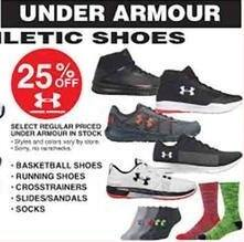 Dunhams Sports Black Friday: Select Regular Priced Under Armour In Stock Men's, Women's and Kids' Shoes and Socks - 25% Off