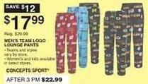 Dunhams Sports Black Friday: Concepts Sport Men's Team Logo Lounge Pants for $17.99