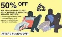Dunhams Sports Black Friday: All Regular Priced In Stock RBX Boys' and Girls' Athletic Apparel - 50% Off