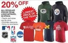 Dunhams Sports Black Friday: All Regular Priced In Stock Team Logo Apparel - 20% Off