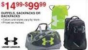 Dunhams Sports Black Friday: Under Armour Duffels, Sackpacks or Backpacks for $14.99 - $99.99