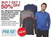 Dunhams Sports Black Friday: All Regular Priced In Stock Pulse Men's Long Sleeve Polymesh 1/4-Zip or Long Sleeve Crew - B1G1 50% Off