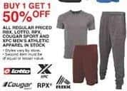 Dunhams Sports Black Friday: All Regular Priced In Stock RBX, Lotto, RPX, Cougar, and XPC Men's Athletic Apparel - B1G1 50% Off