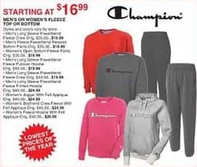 Dunhams Sports Black Friday: Champion Men's or Women's Fleece Top or Bottom, Select Styles - $16.99 and Up