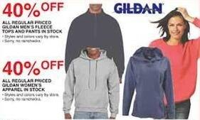 Dunhams Sports Black Friday: All Regular Priced In Stock Gildan Men's Fleece Tops and Pants - 40% Off