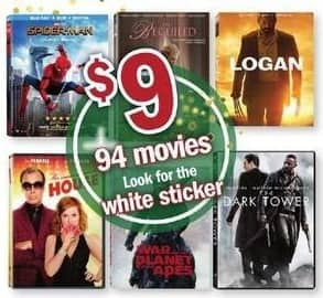 Meijer Black Friday: Select Movies: Logan, War of the Planet of the Apes, The Dark Tower & More for $9.00