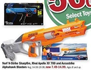 Meijer Black Friday: Nerf N-Strike Sharpfire, Rival Apollo XV 700 and Accustrike Alphahawk Blasters for $7.49 - $14.99