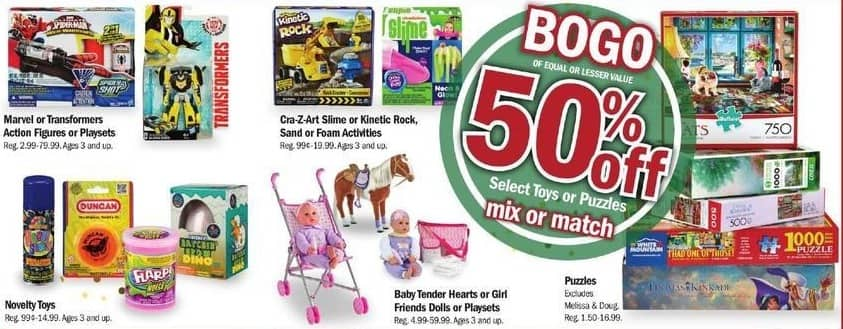 Meijer Black Friday: Mix or Match Select Toys: Marvel or Transformers Action Figures or Playsets, Cra-Z-Art Slime or Kinetic Rock, Sand or Foam Kits, Novelty Toys & More - B1G1 50%
