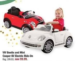 Meijer Black Friday: VW Beetle and Mini Cooper 6V Electric Ride-On for $99.99